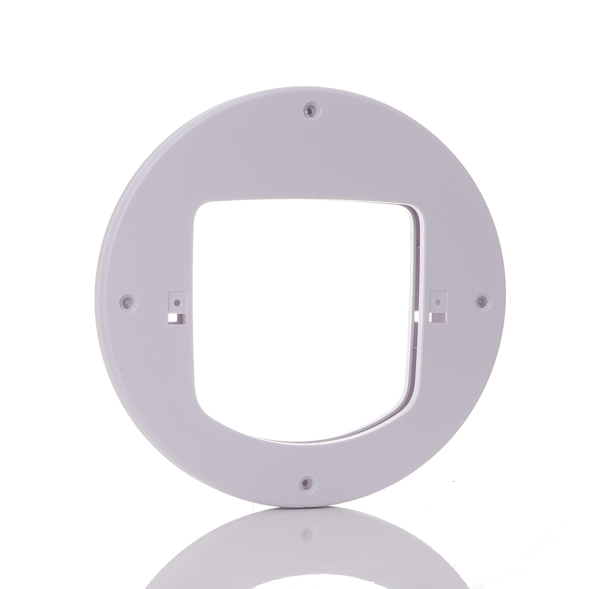 A round adapter used to install cat doors into glass from PetSafe