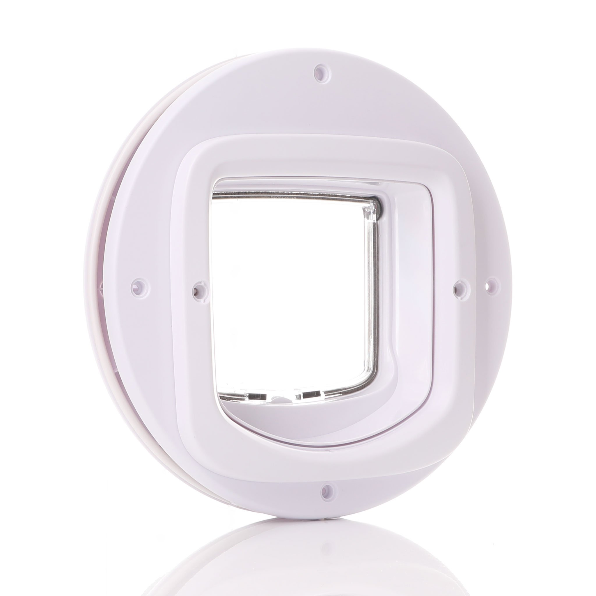 Shows the outside looks of a cat flap in glass.