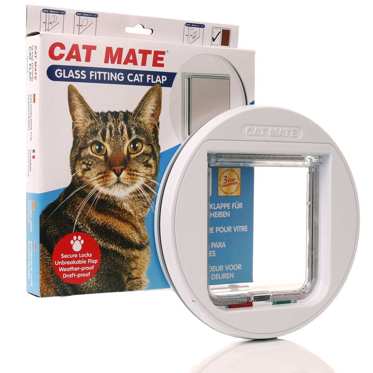 A Cat Mate cat flap designed for use in glass doors or windows