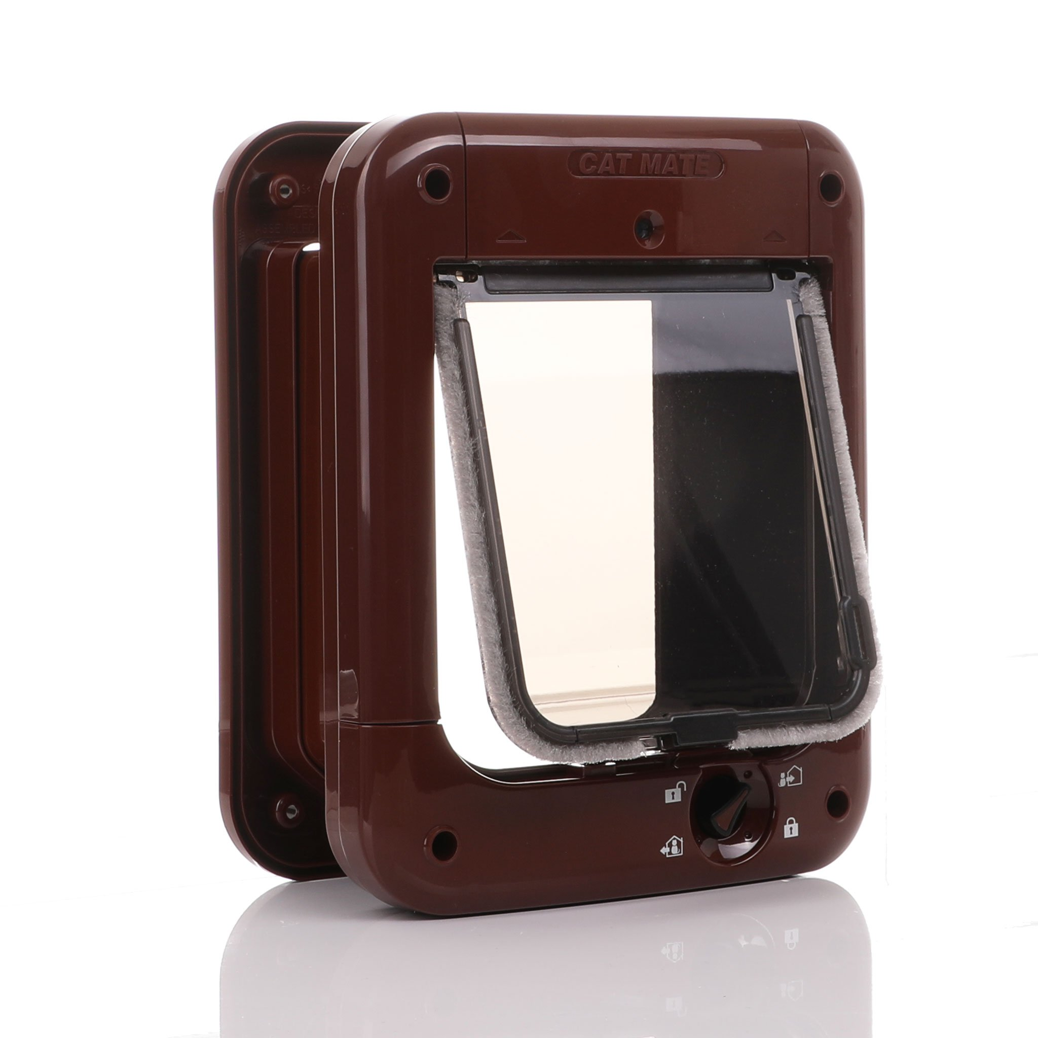 Microchip cat flap brown with a tinted bronze flap from cat Mate