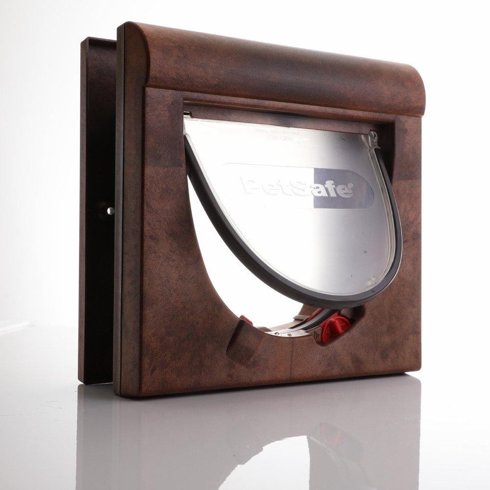 cat door with flap open in brown 4 way lock magnetic