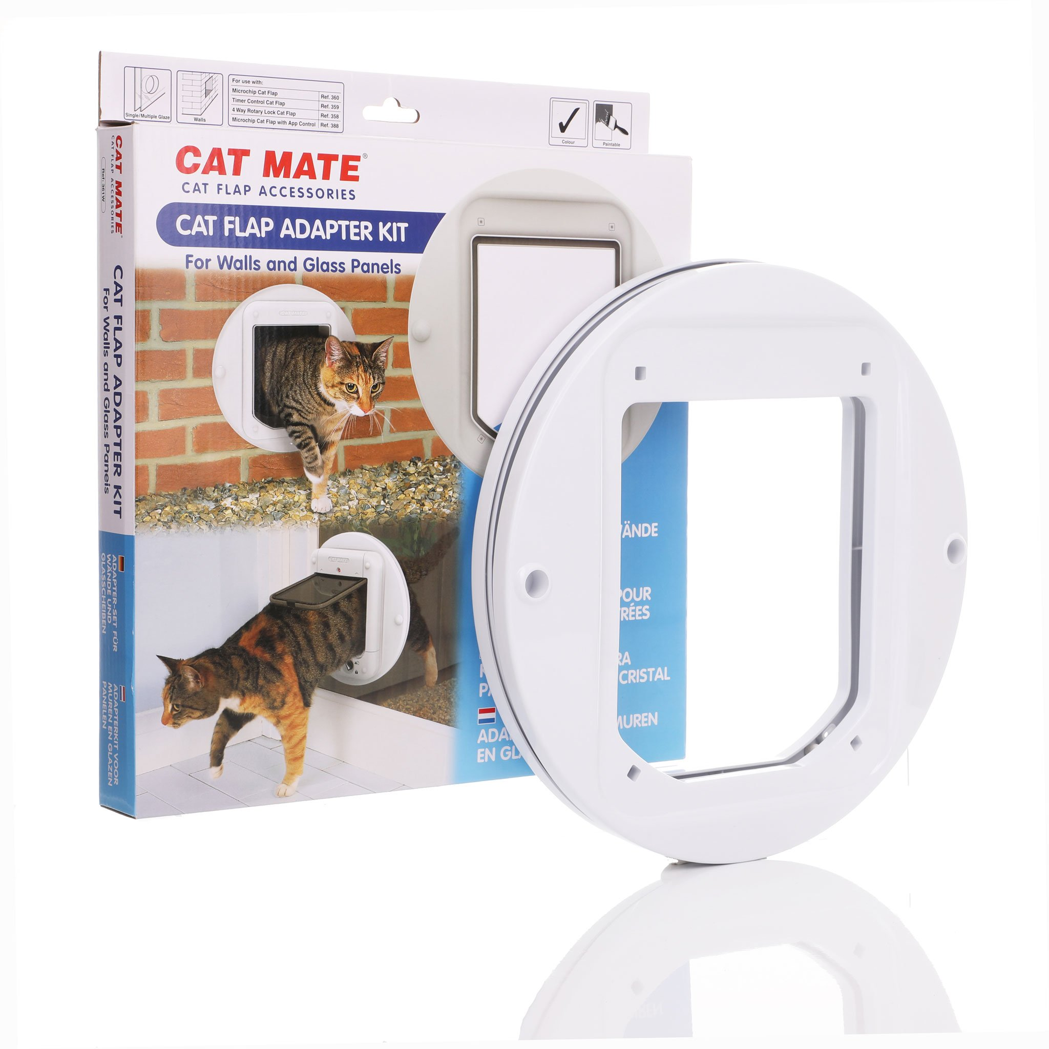Frame used to install cat flaps in glass or through walls.