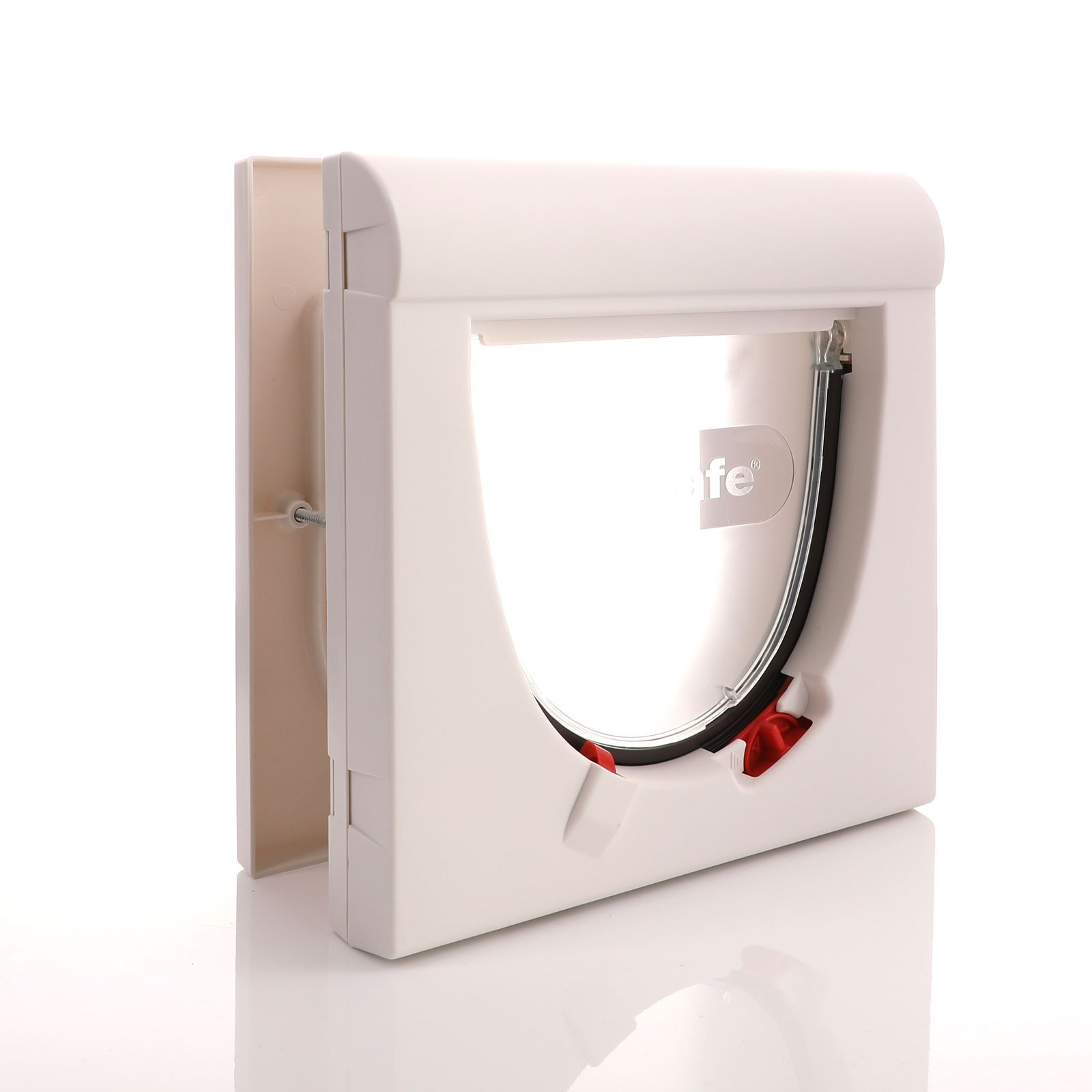 White outer frame with 4 way locks and a clear flap and magnetic operation
