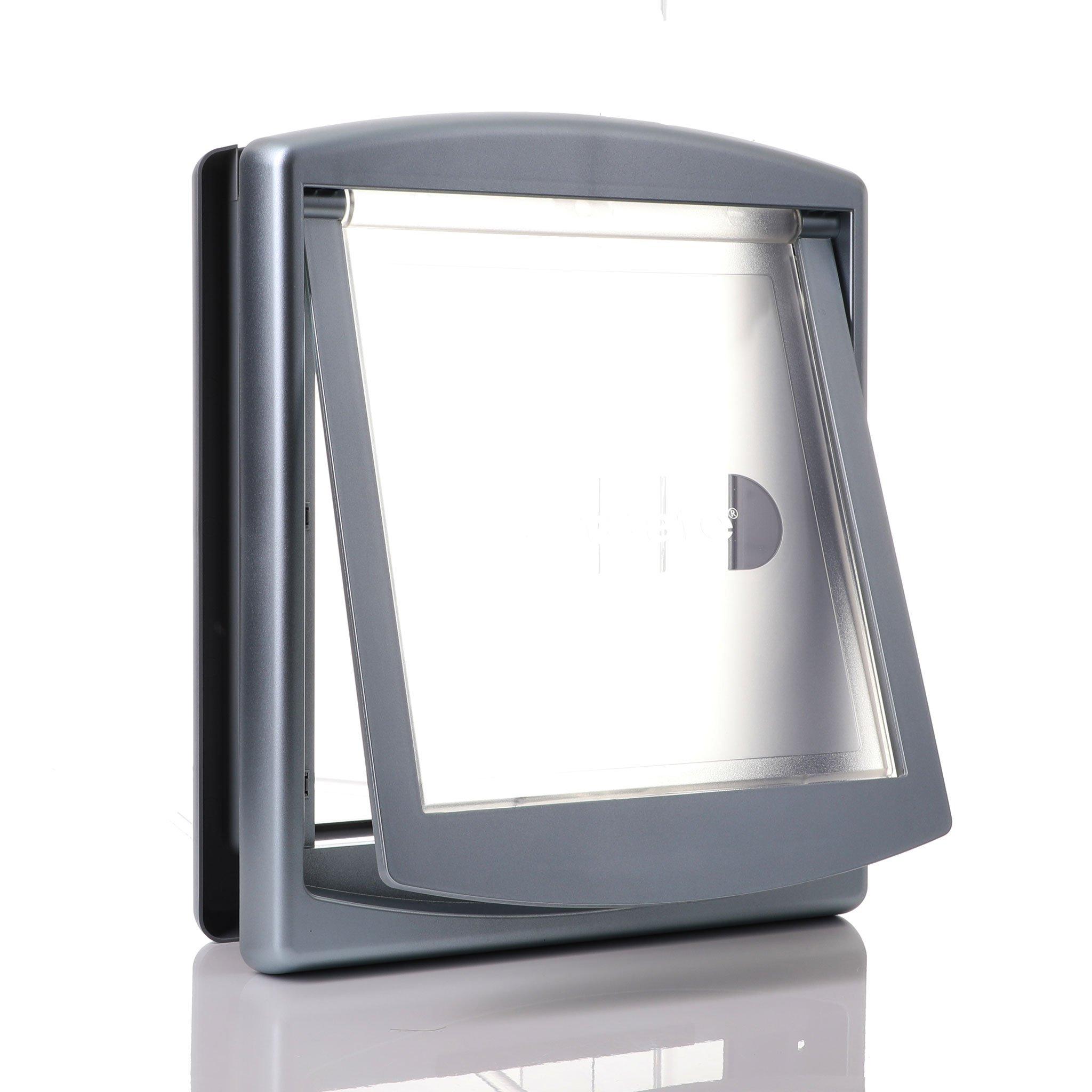 medium dog door clear frame draught proofing grey farme