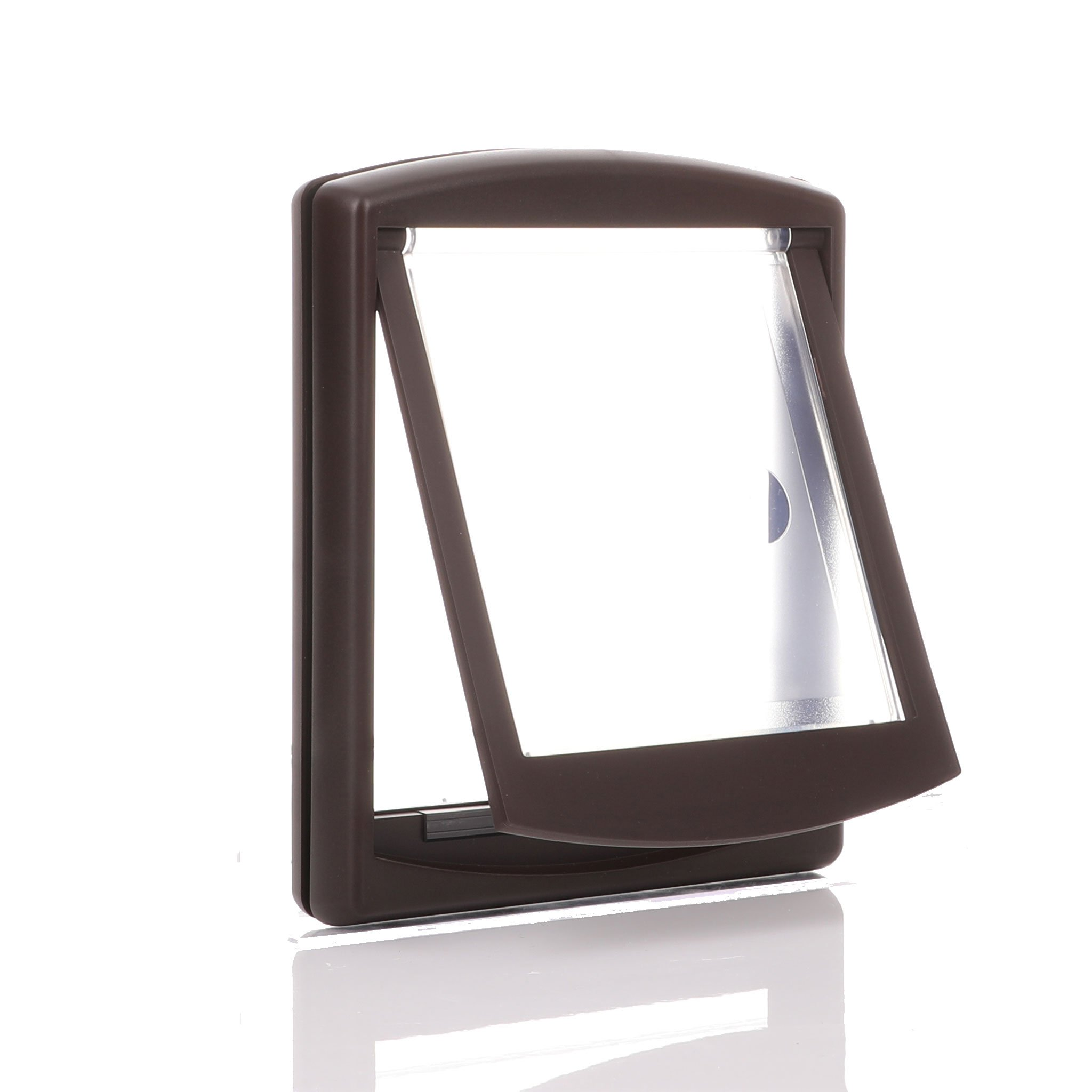 Brown frame with a clear flap and an internal barrier