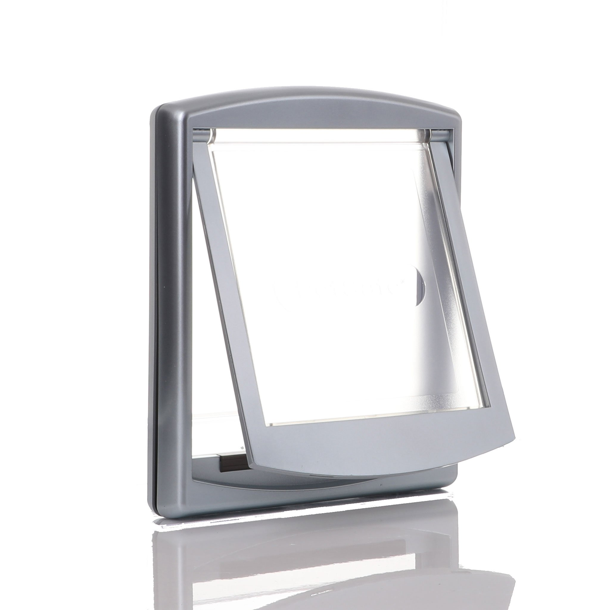 Grey frame with clear flap and draft barrier