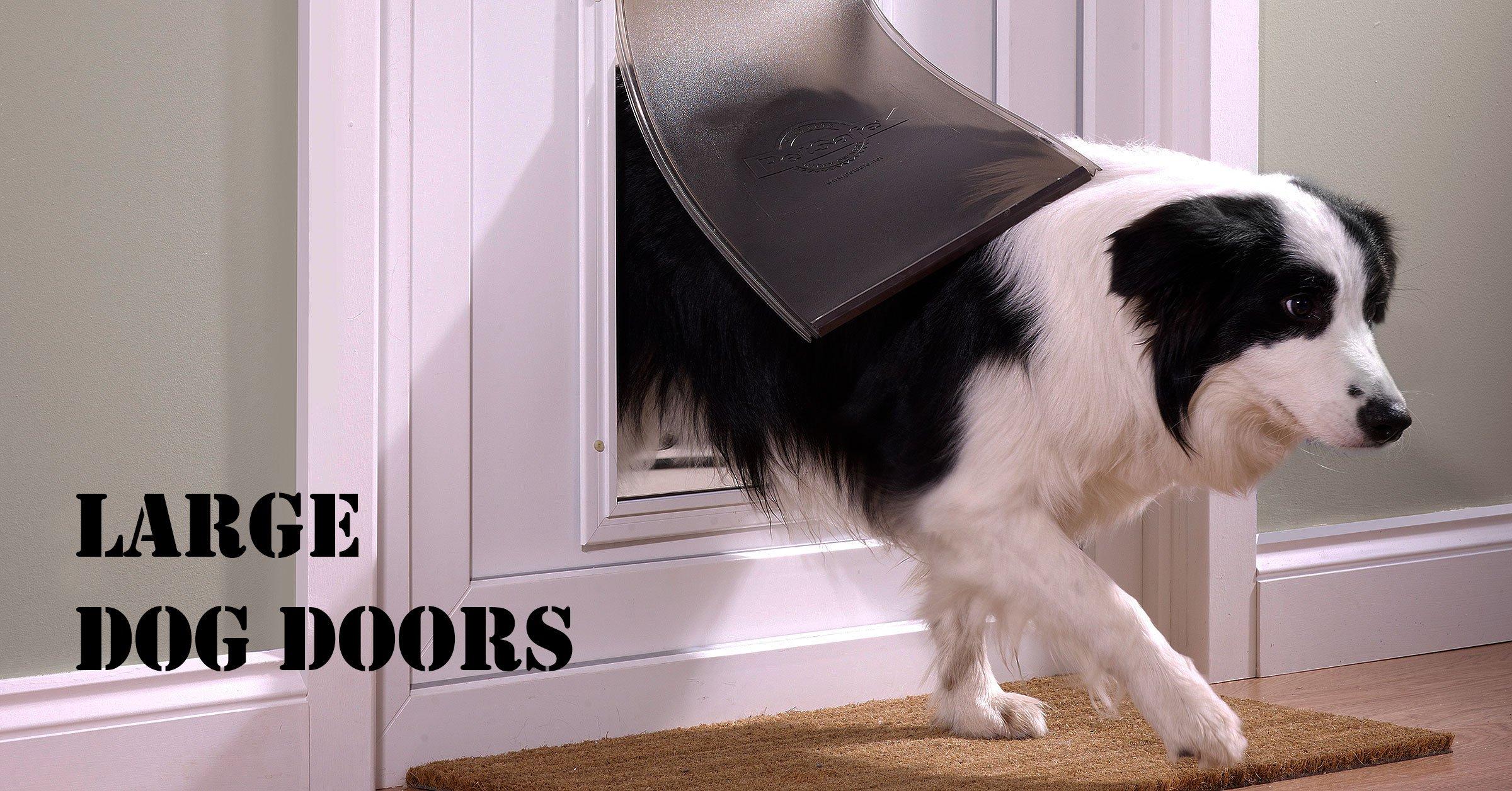 A large dog flap with an aluminium frame and felxible door.