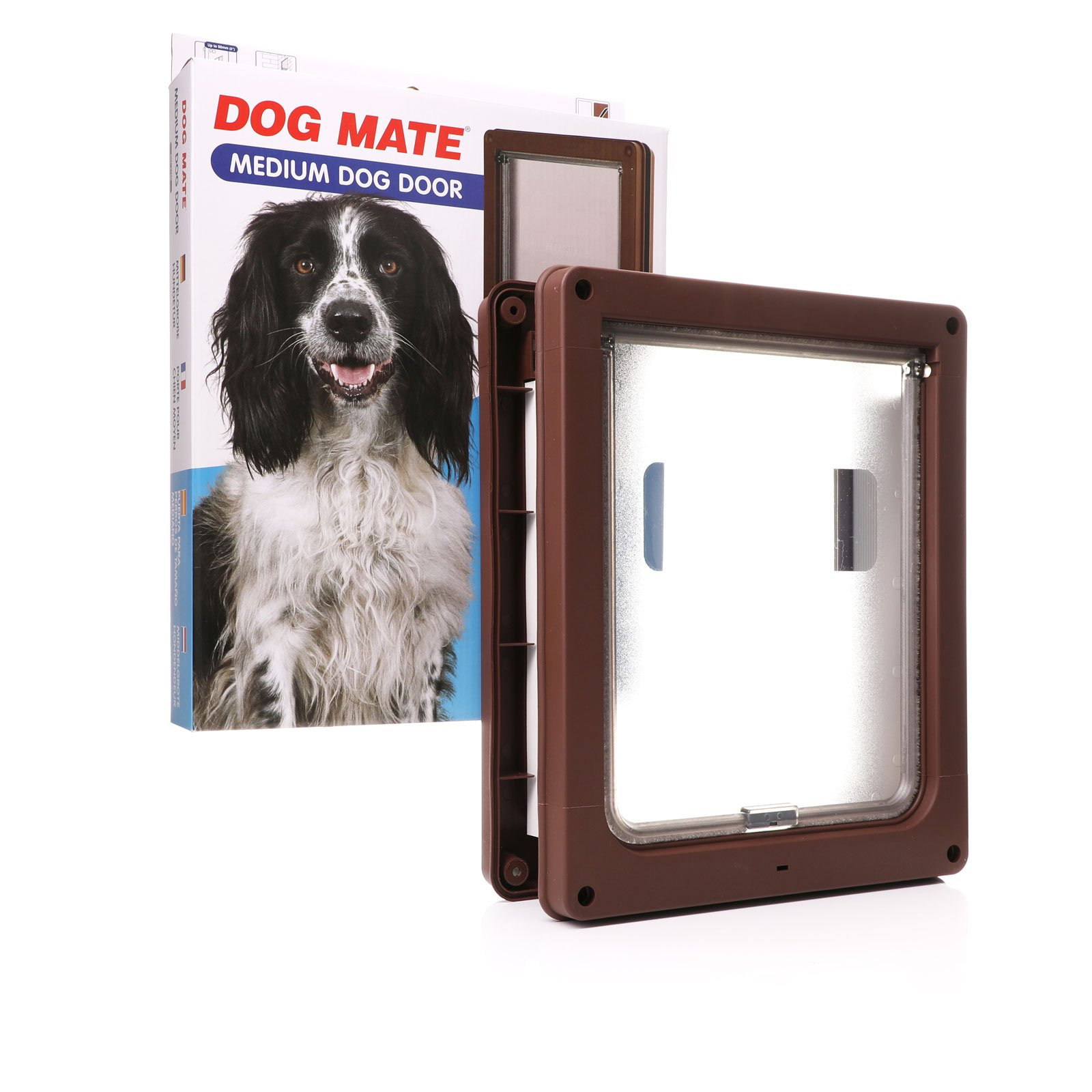 Medium small dog door with abrown frame and a clear flap.