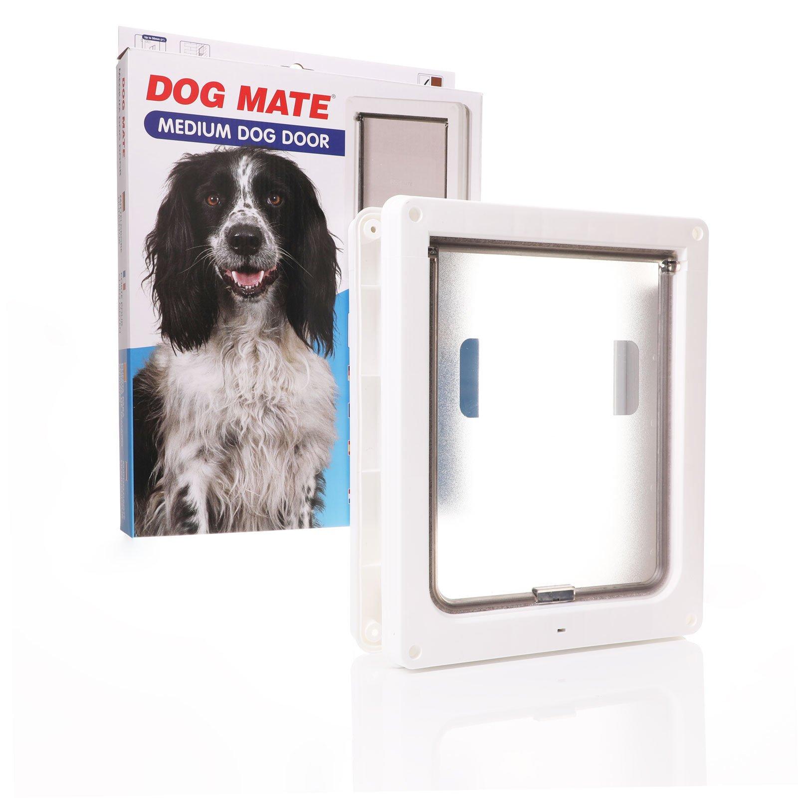 Medium small dog door white frame clear flap.