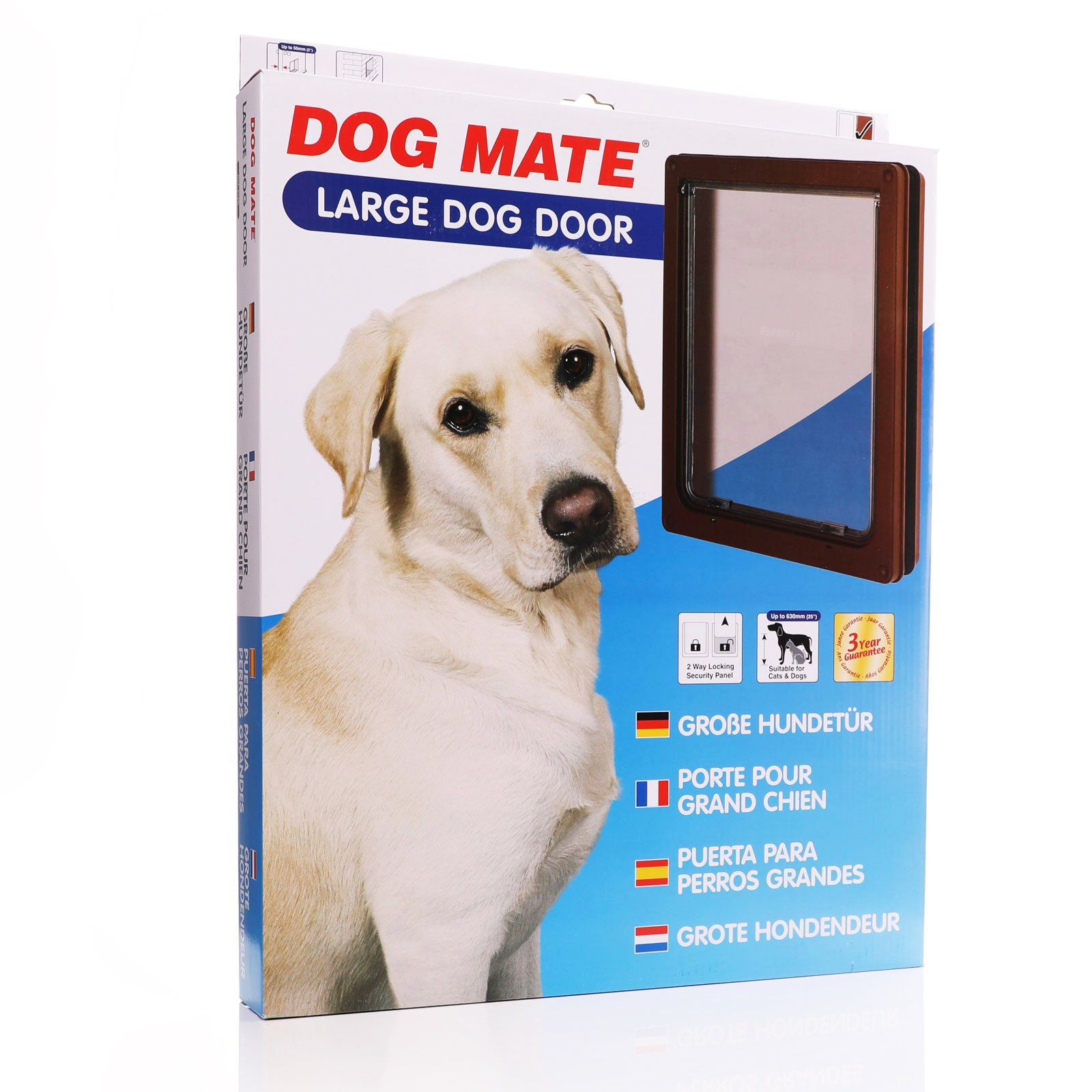 Large dog door with a brown frame.